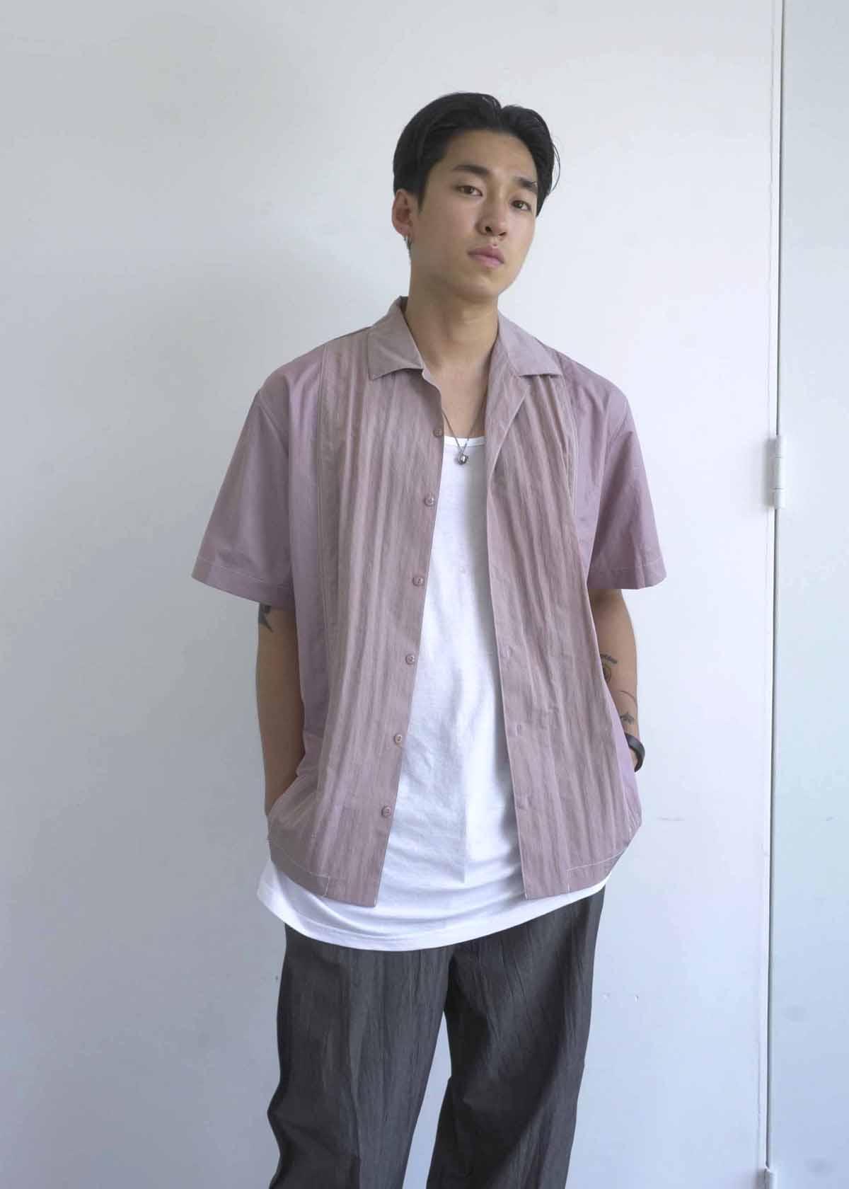 Contrast Nylon Stitch Up 1/2 Shirts (3Color)