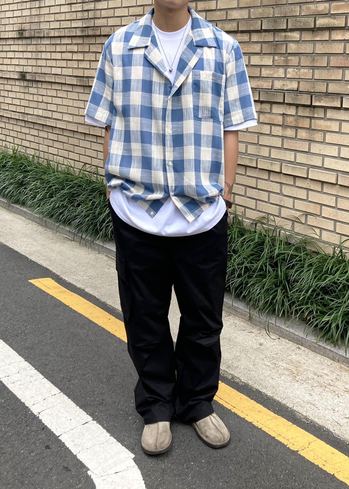 Linen Check String 1/2 Shirts (2Color)