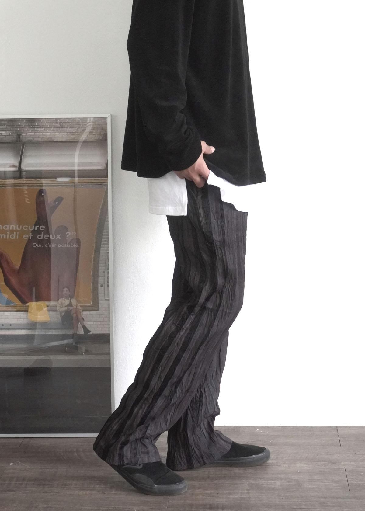 Wrinkle Stripe Banding Wide Pants (2Color)
