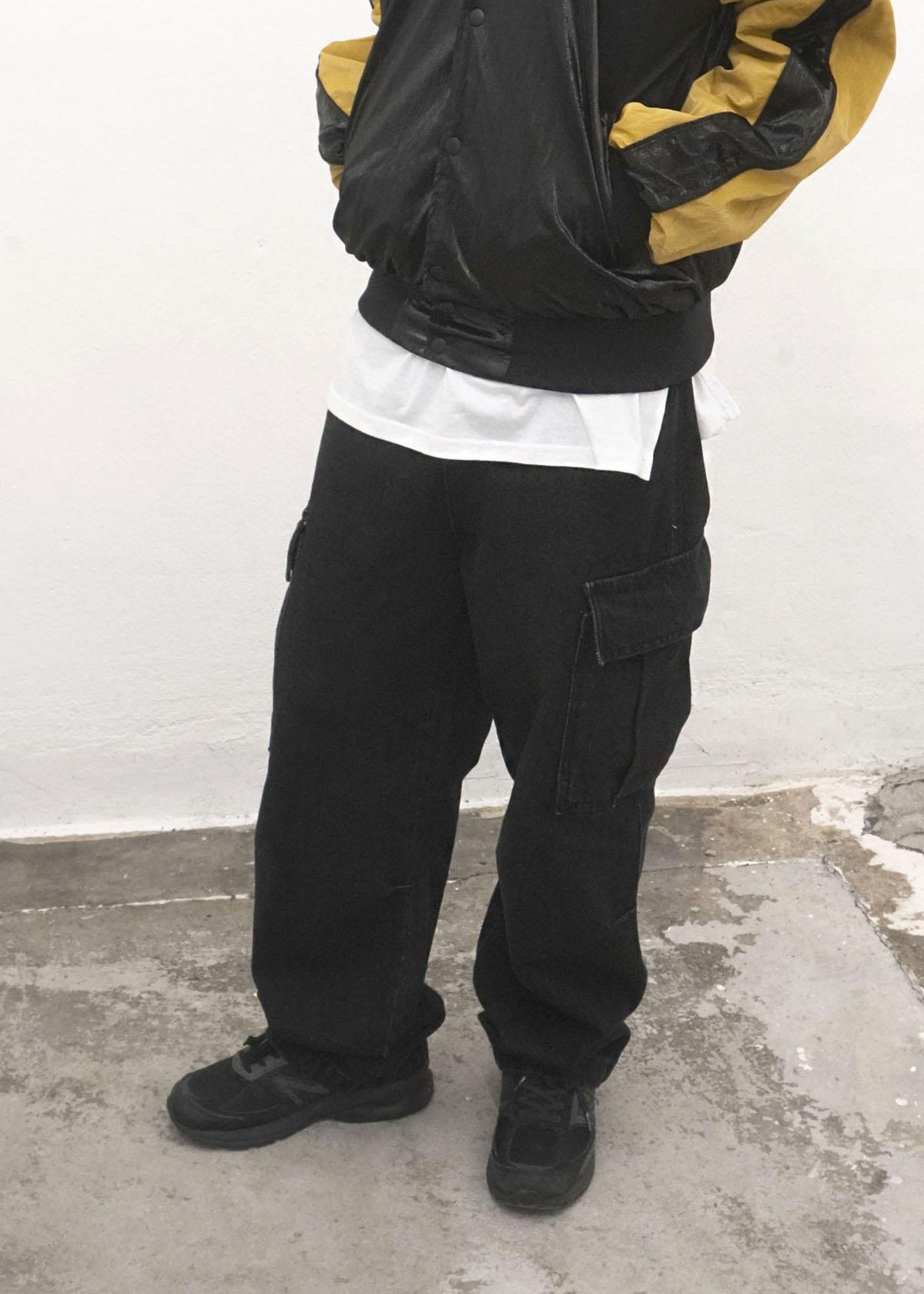 Black Denim Cargo Wide Pants