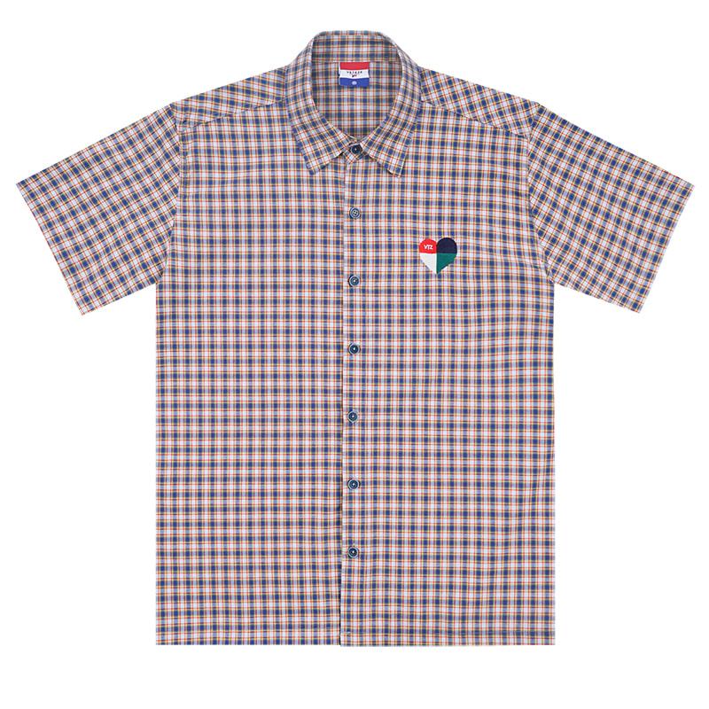 Heart Check Over Half Shirts (blue)