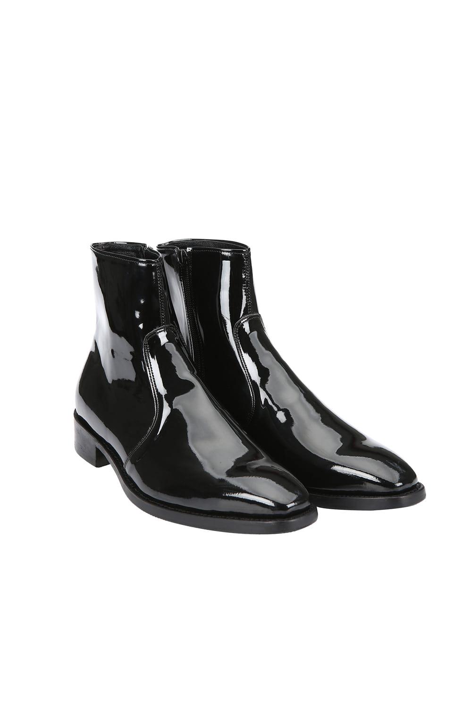 Black Enamel Ankle Boots