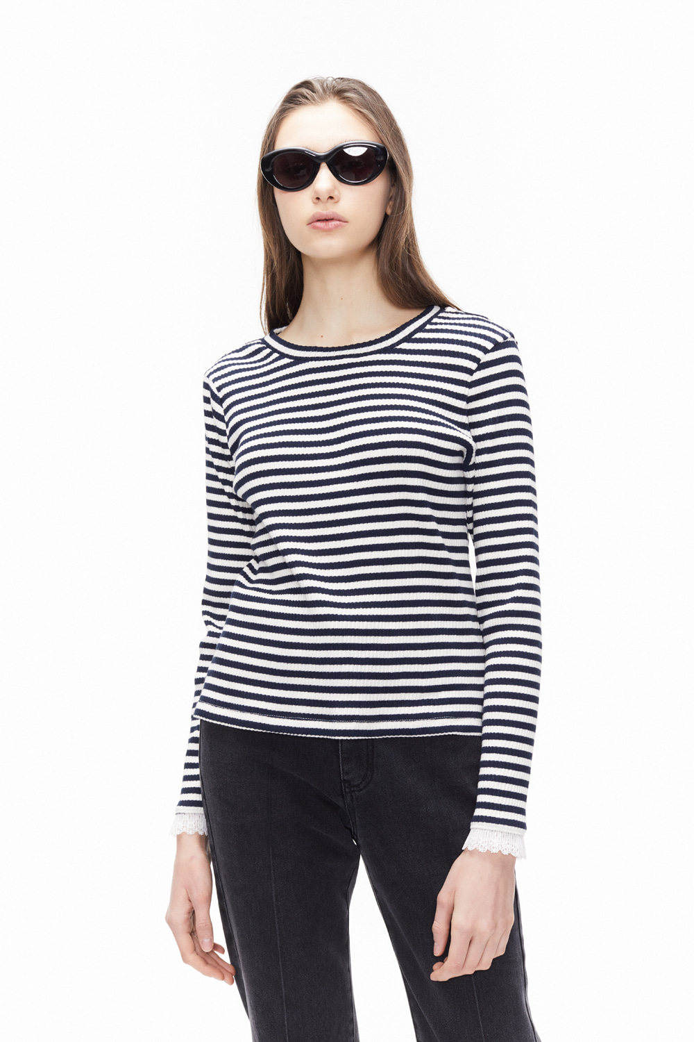 ORDINARY PEOPLE FRILL SLEEVE POINT BLACK STRIPE T-SHIRTS