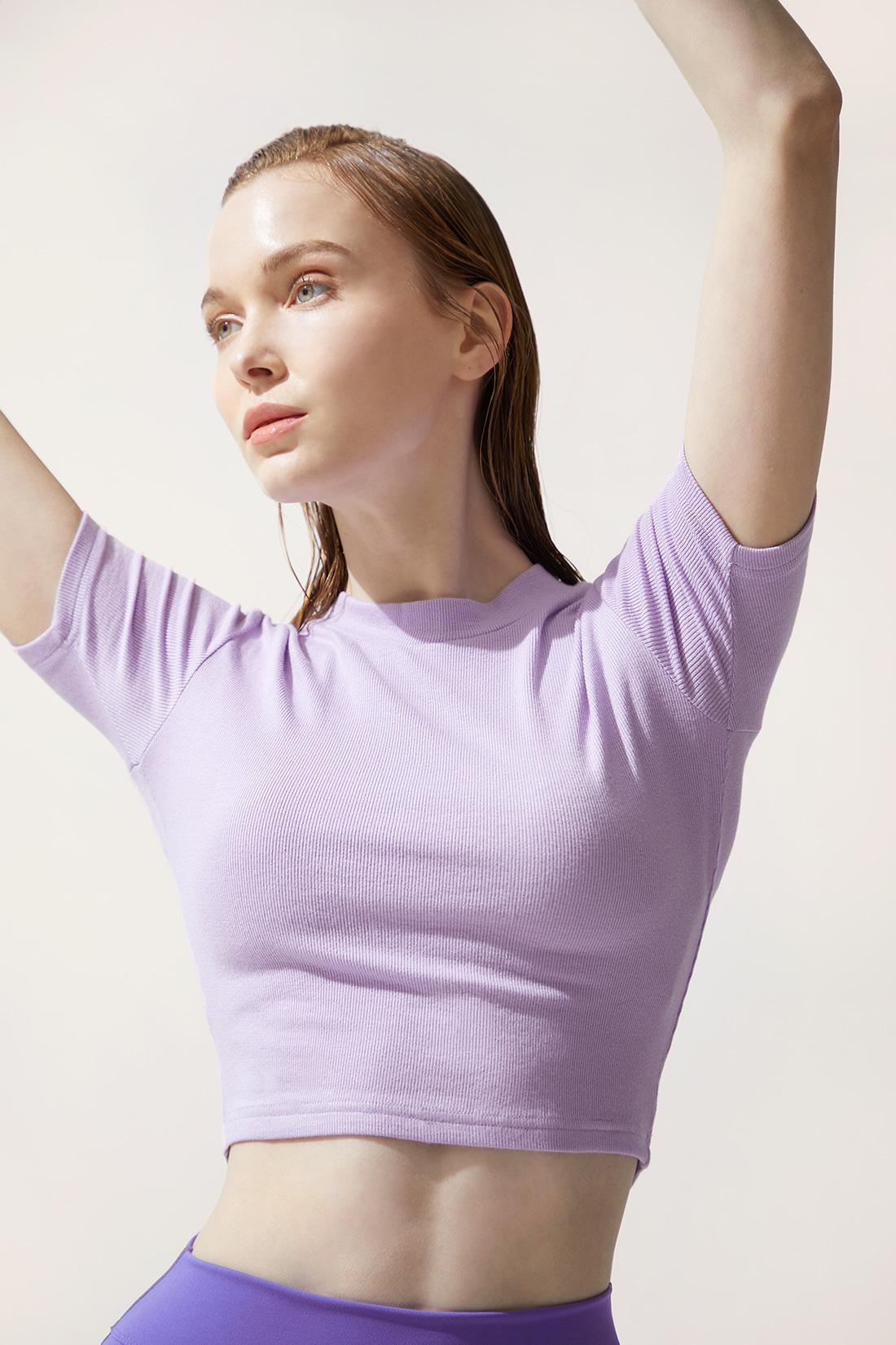 조이 3부 크롭 티셔츠 라이트퍼플 Light purple