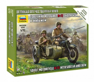 6277 1/72 Soviet motorcycle M-72 with sidecar and crew