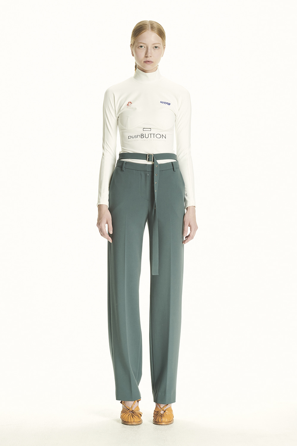 PS21 HIGH WAIST BELTED GREEN TROUSERS