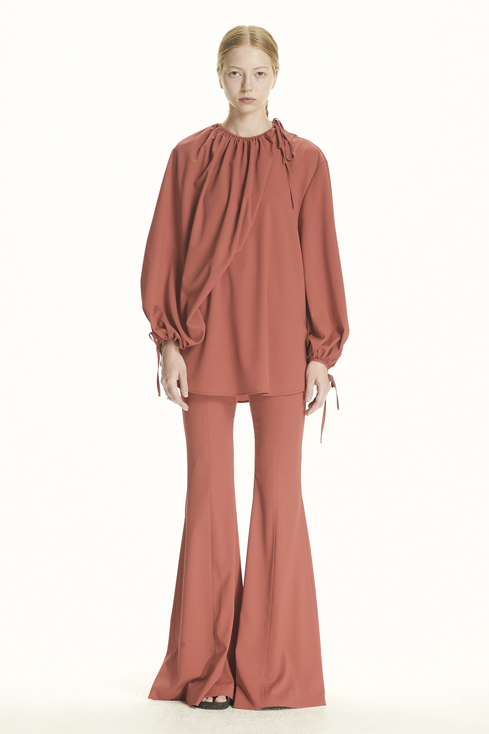 PS21 TWO-WAY RED FLOUNCE BLOUSE