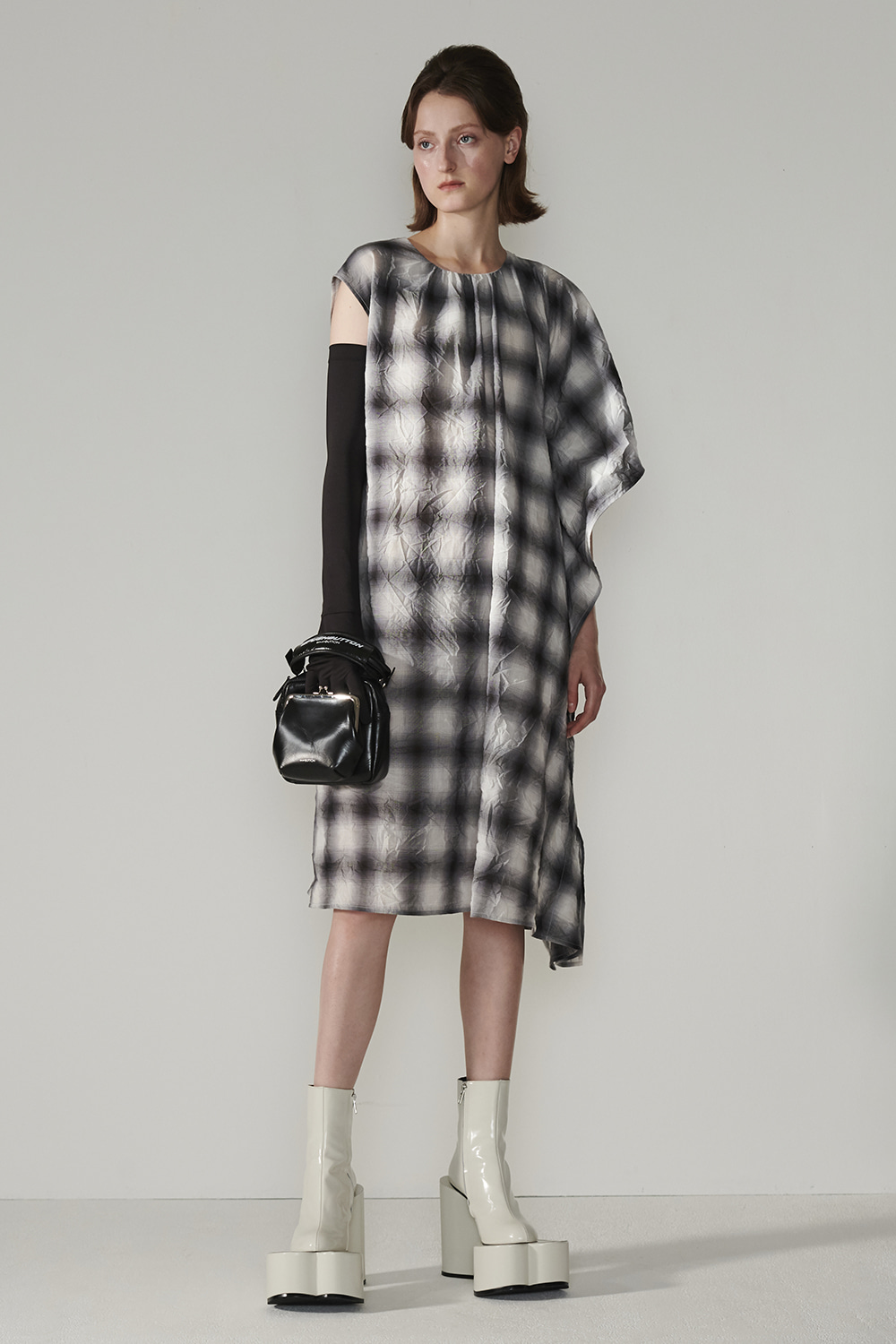 SS21 ONE SLEEVE CAPE CHECK DRESS