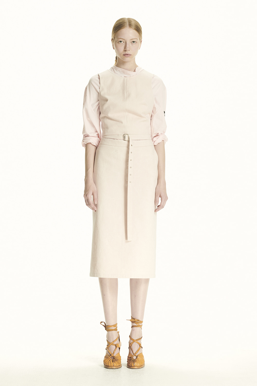 PS21 BELTED DETAIL PINK MIDI SKIRT