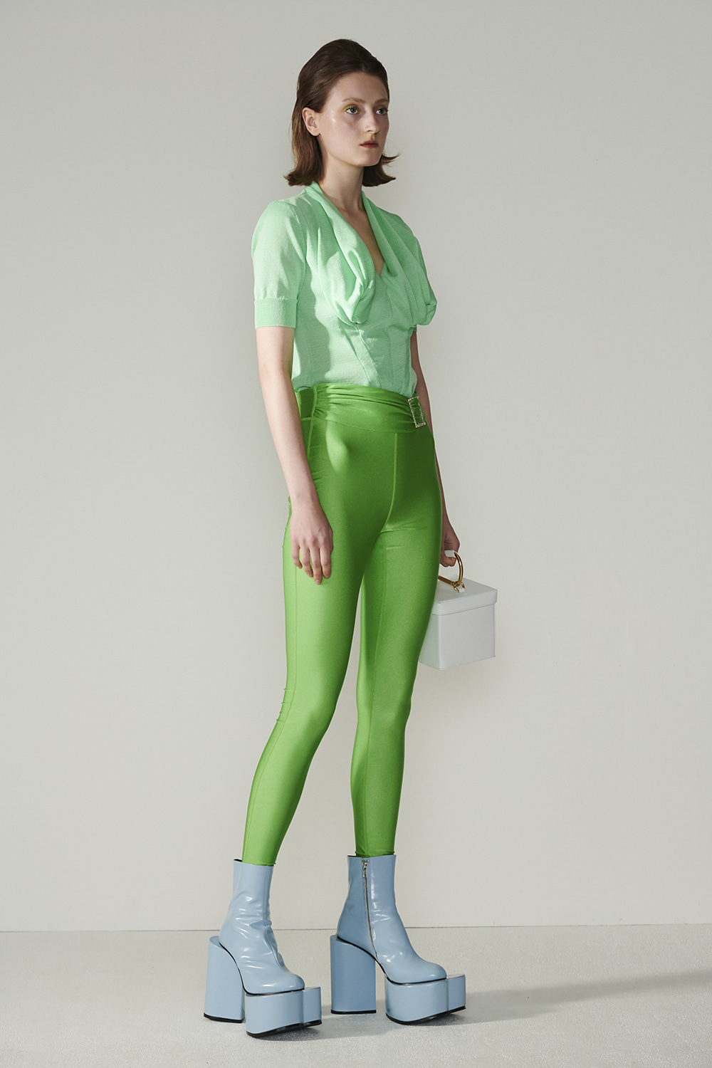 SS21 JEWELLED POINT GREEN LEGGINGS