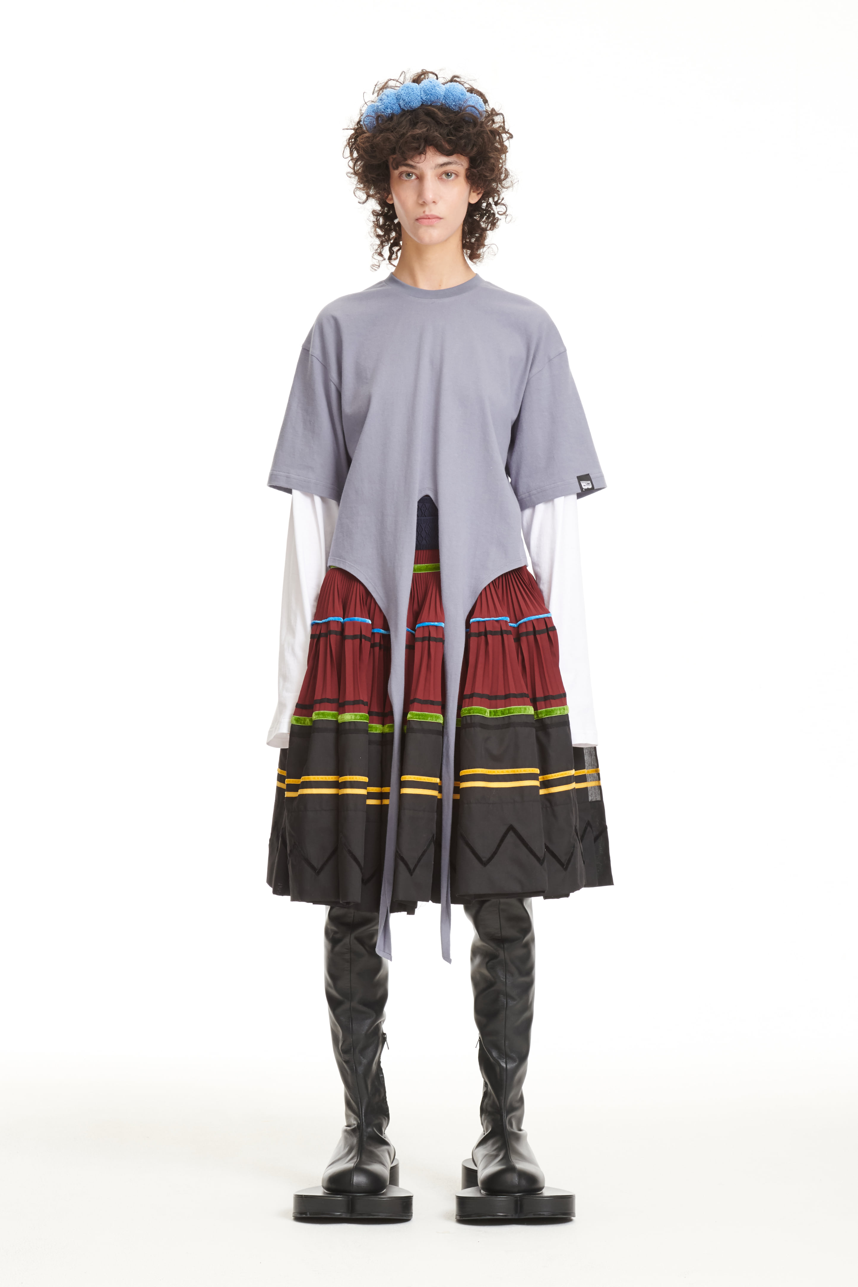 FW21 GRAY DOUBLE LAYERED TAIL T-SHIRTS