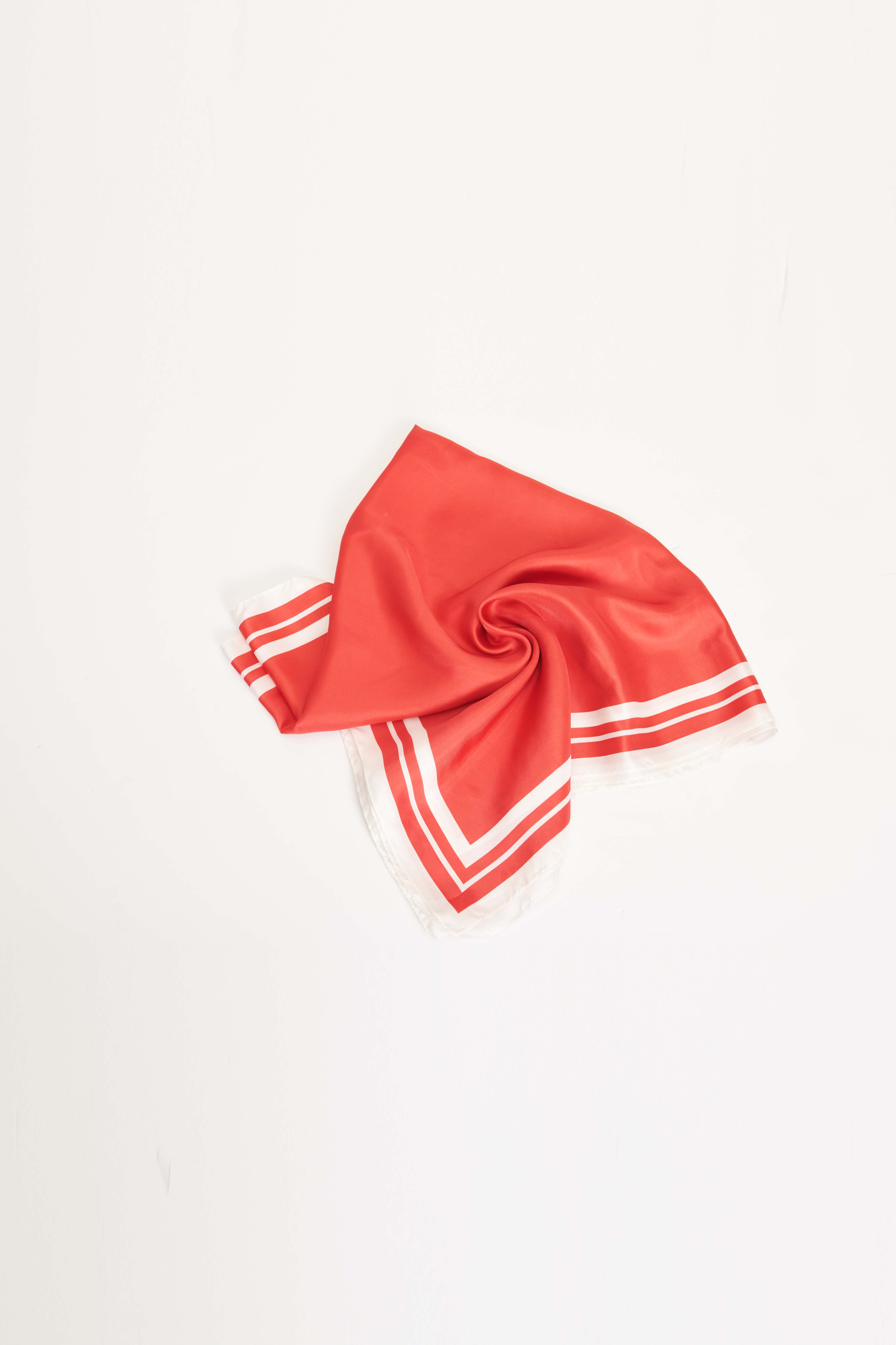FW21 RED PRINTED SILK SCARF
