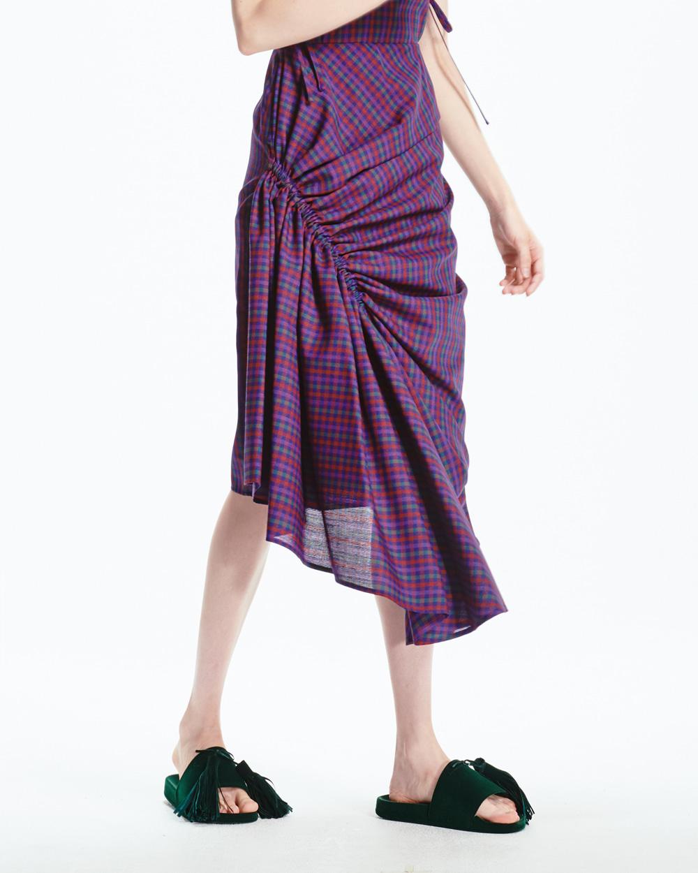 PF20 SHIRRING DETAIL CHECK DRESS