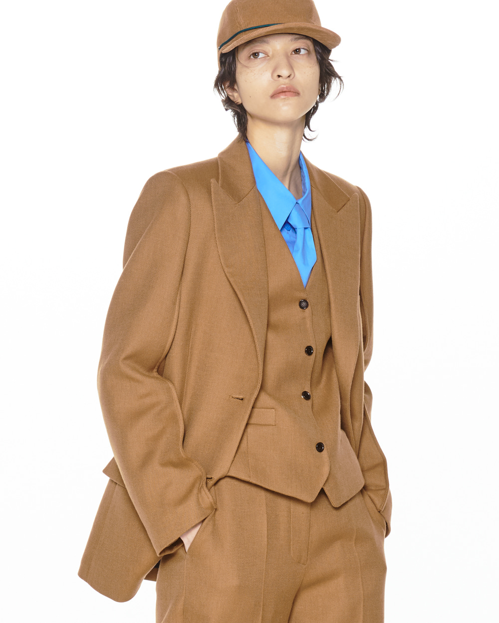 FW20 TWO BUTTON SINGLE BROWN JACKET