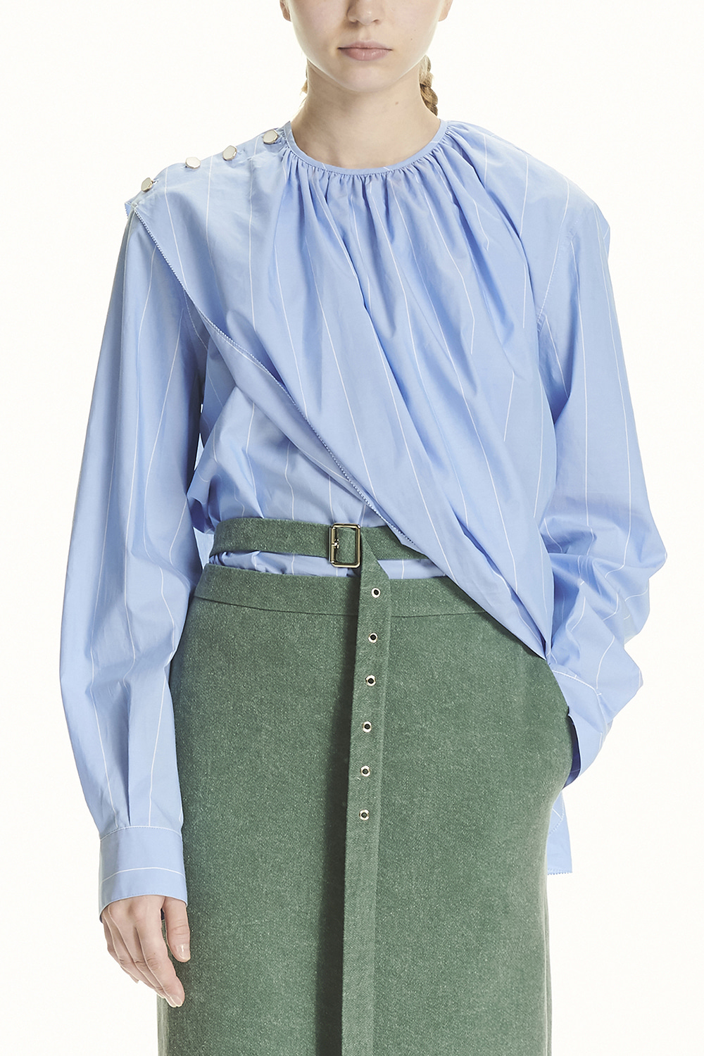 PS21 COLLARLESS OPEN BLOUSE