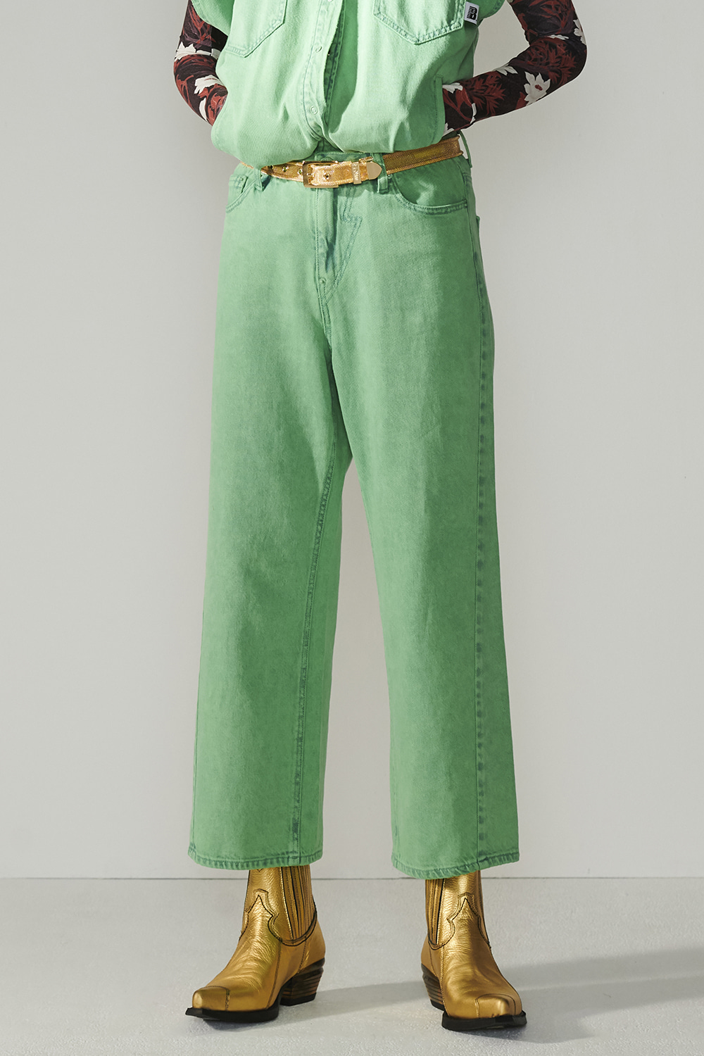 SS21 WIDE STRAIGHT GREEN JEANS