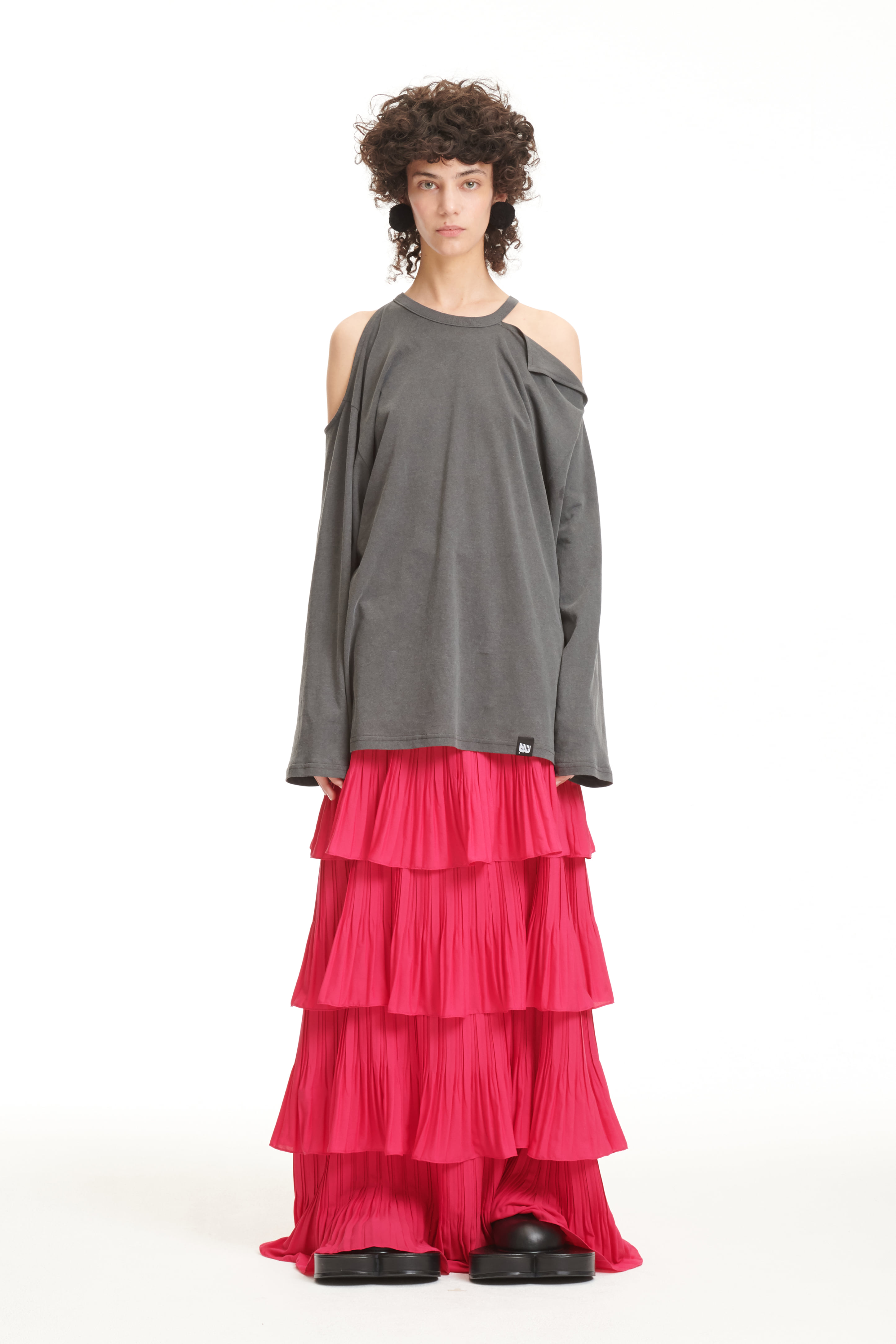 FW21 PINK PLEATED CANCAN SKIRT
