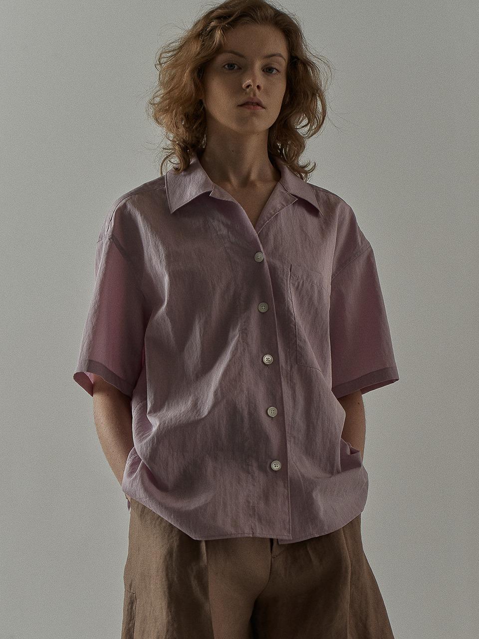 페이퍼 하프 셔츠_lavender fog