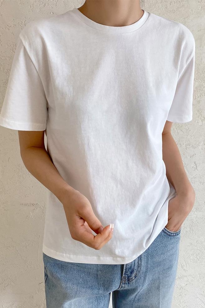 ラウンドネック半袖コットンTシャツ