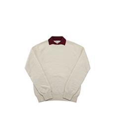 Dylan Cashmere Mix Polo Shirt Natural/Bordeaux
