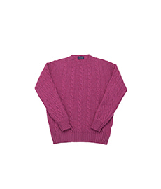Gullan Cable Pullover Crew Neck Loganberry