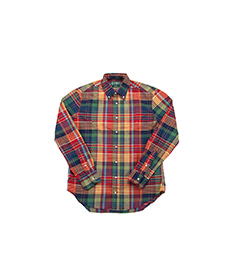 Archive Cotton Madras L/S Shirt Red/Yellow