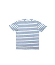 Short Sleeve T-Shirt Washed Denim/Ecru Breton Stripe
