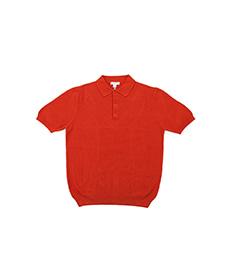 Short Sleeve Fine Texture Polo Burnt Orange