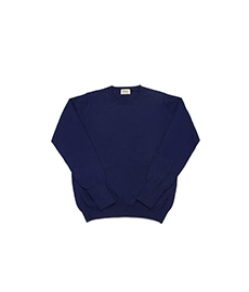 Cotton Pullover Crew Neck L/S Dark Blue