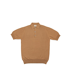 Cotton Pullover Sportshirt S/S New Brown