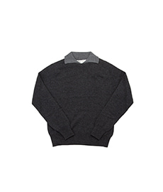 Dylan Cashmere Mix Polo Shirt Charcoal/Drakkar