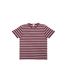 Short Sleeve T-Shirt Oxblood/Ecru Breton Stripe