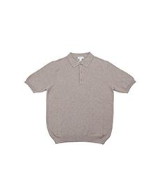 Short Sleeve Fine Texture Polo Oatmeal Melange