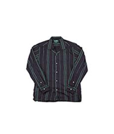 Satin Regimental Stripe Camp Shirt Green/Navy