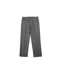 Gaston Flat Front Trouser Grey Wool Herringbone