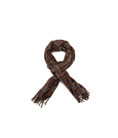 House Check Cashmere Scarf Brown