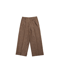 Chopin Double Pleats Brown Donegal Tweed