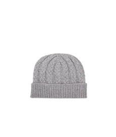 Cable Knit Cashmere Beanie Grey