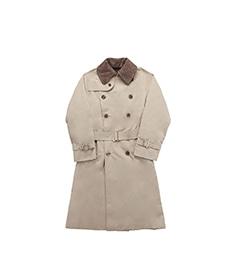 AL II Gabardine Beige / Loden Jersey Brown Collar