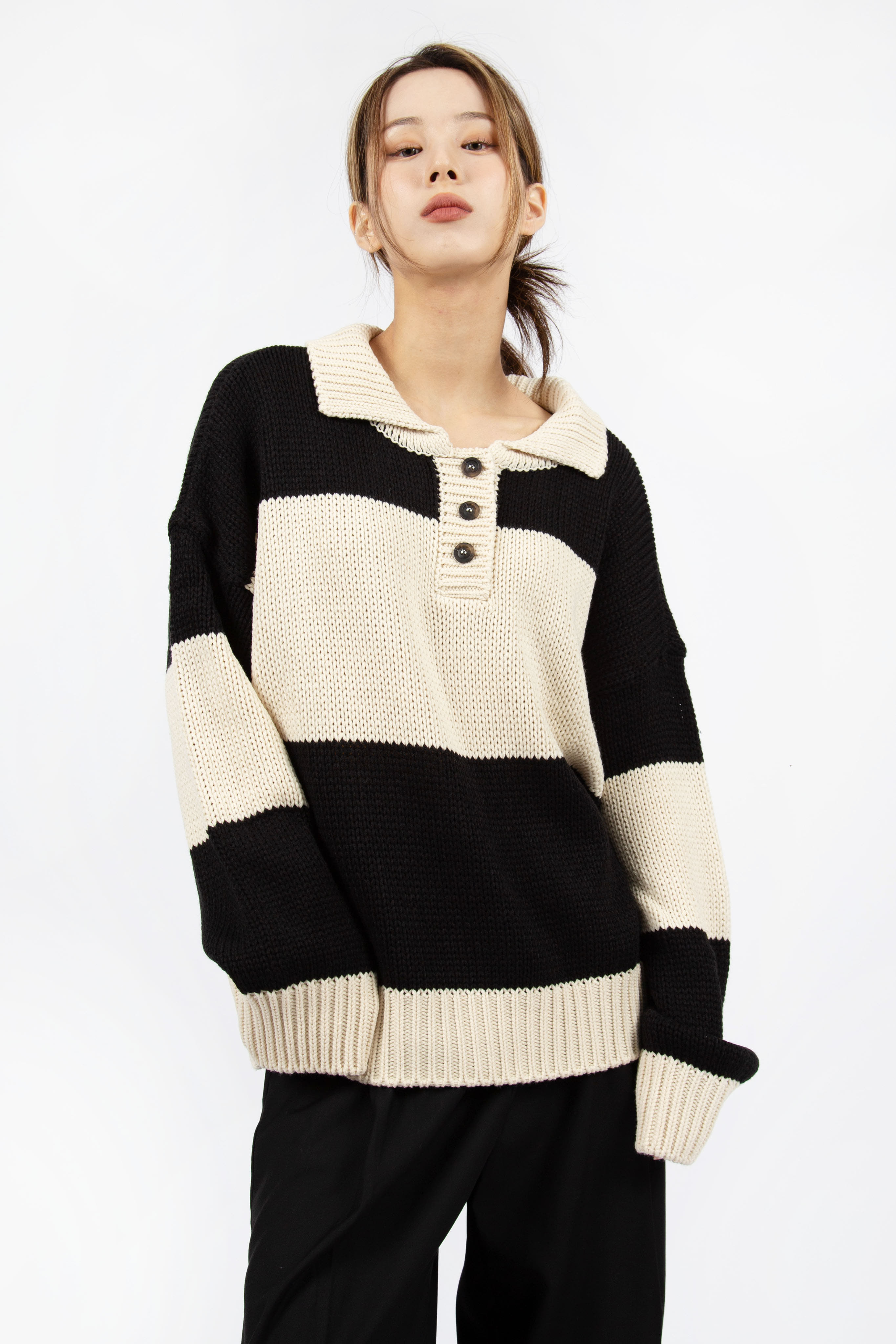 RUGBY COLLAR KNIT