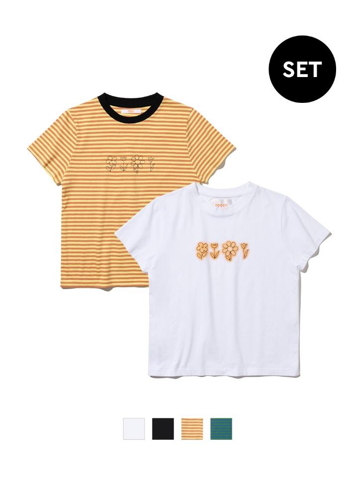 [1+1] 플라워 드로잉 세미 타이트핏 티셔츠 2pack[1+1] 플라워 드로잉 세미 타이트핏 티셔츠 2pack자체브랜드