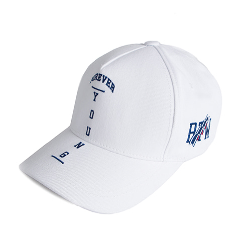 Forever Young Cross Ball Cap_White