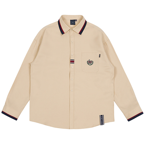 COLOR BAND COLLAR SHIRT_BEIGE
