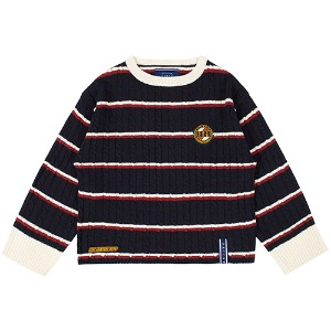 STRIPE CABLE KNIT_NAVY