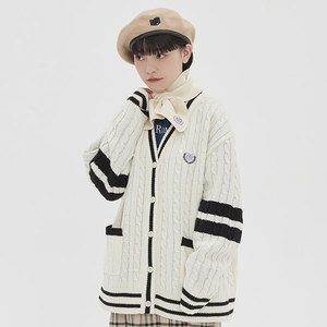 [TGT X RMTCRW]LINE CABLE CARDIGAN_OATMEAL