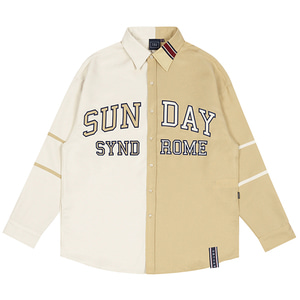 SUNDAY SYNDROME COLOR BLOCK SHIRT_OATMEAL