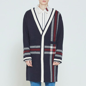 CHECK KNITTED LONG CARDIGAN_NAVY