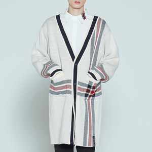 CHECK KNITTED LONG CARDIGAN_OATMEAL