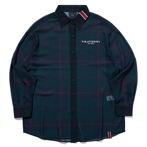 WOMANS RELAX CHECK SHIRT_NAVY