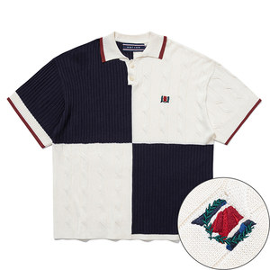 CHAIN KNIT POLO_NAVY